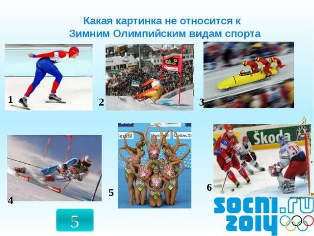 2 4 3 5 6 Какая картинка не относится к Зимним Олимпийским видам спорта 1 5 5