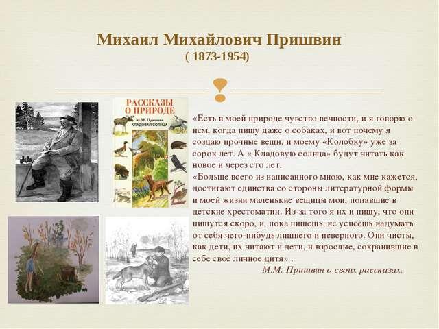 Михаил Михайлович Пришвин ( 1873-1954) «Есть в моей природе чувство вечности,...