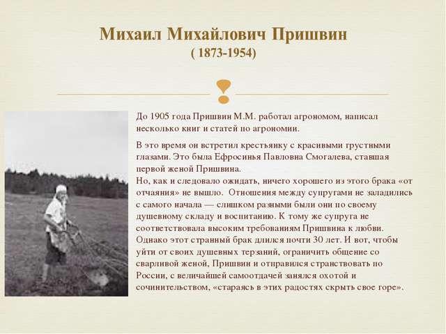 До 1905 года Пришвин М.М. работал агрономом, написал несколько книг и статей...