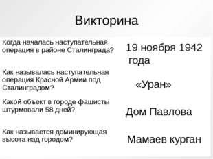 Викторина 19 ноября 1942 года «Уран» Дом Павлова Мамаев курган Когда началась