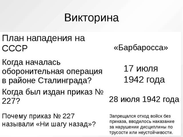 Викторина «Барбаросса» 17 июля 1942 года 28 июля 1942 года Запрещался отход в...