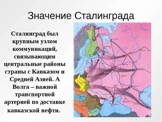 Значение Сталинграда Сталинград был крупным узлом коммуникаций, связывающим ц...