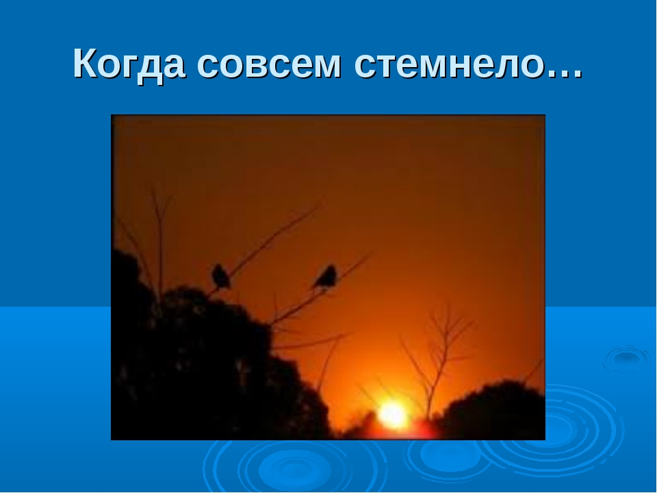 Когда совсем стемнело…