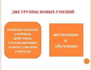 ДВЕ ГРУППЫ НОВЫХ УМЕНИЙ мотивация к обучению универсальные учебные действия,