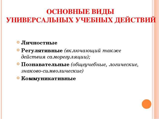ОСНОВНЫЕ ВИДЫ УНИВЕРСАЛЬНЫХ УЧЕБНЫХ ДЕЙСТВИЙ Личностные Регулятивные (включаю...