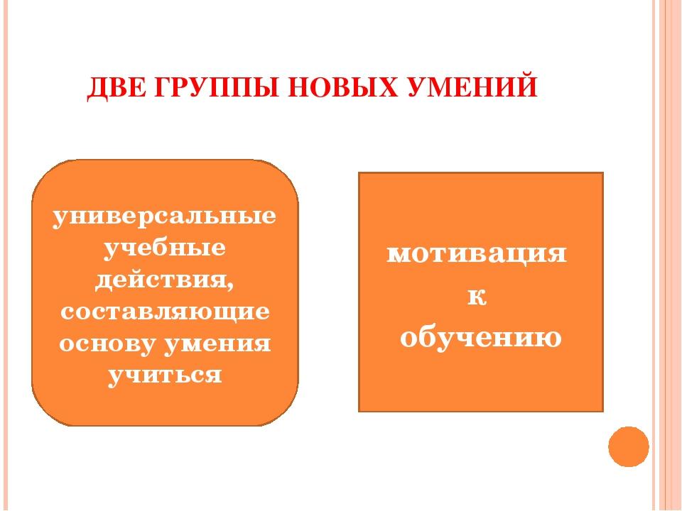 ДВЕ ГРУППЫ НОВЫХ УМЕНИЙ мотивация к обучению универсальные учебные действия,...