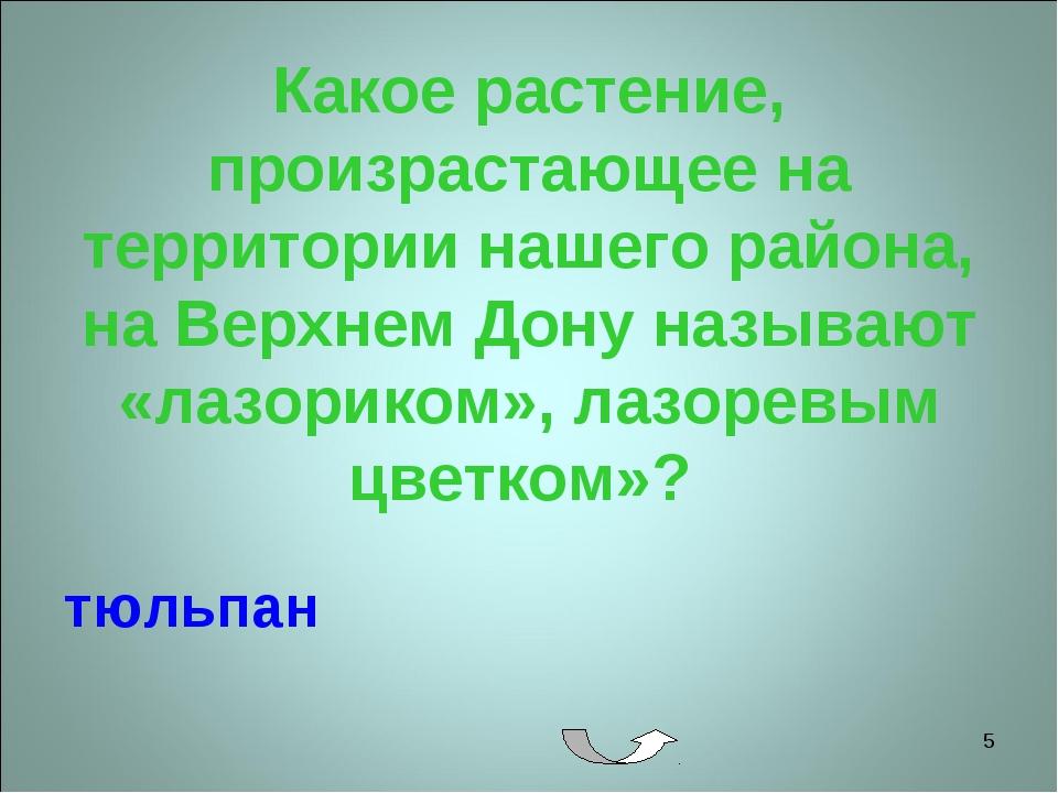 * Какое растение, произрастающее на территории нашего района, на Верхнем Дону...