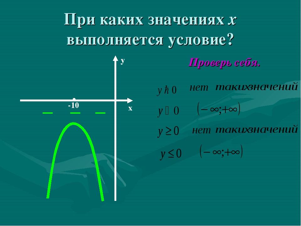 При каких значениях х выполняется условие? Проверь себя. y x -10