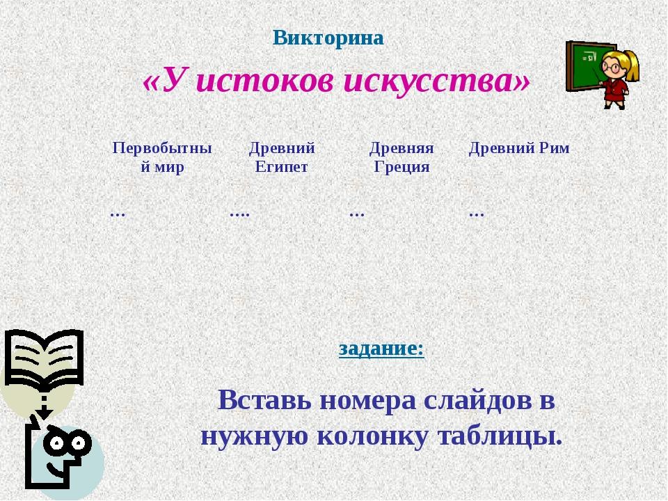 Викторина «У истоков искусства» задание: Вставь номера слайдов в нужную колон...
