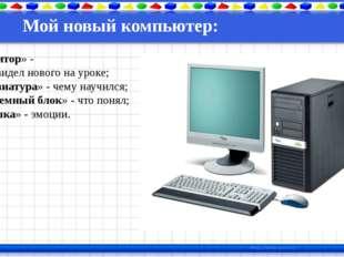 Мой новый компьютер: «монитор» - что увидел нового на уроке; «клавиатура» - ч