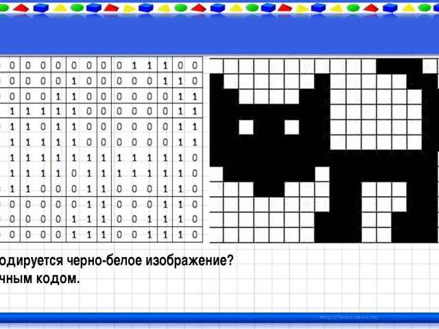 Как кодируется черно-белое изображение? Двоичным кодом.