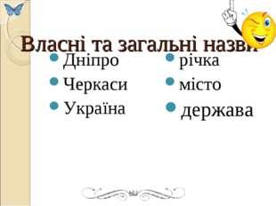 Власні та загальні назви Дніпро Черкаси Україна річка місто держава