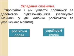 Укладання словничка. Спробуймо і ми укласти словничок за допомогою підказок-в
