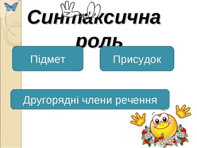 Синтаксична роль Підмет Присудок Другорядні члени речення