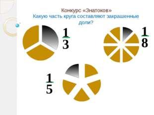Конкурс «Знатоков» Какую часть круга составляют закрашенные доли? 3 1 8 1 5 1