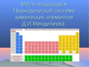 Место водорода в Периодической системе химических элементов Д.И.Менделеева