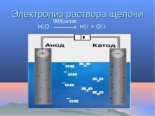 Электролиз раствора щелочи Н₂О Н₂↑ + О₂↑
