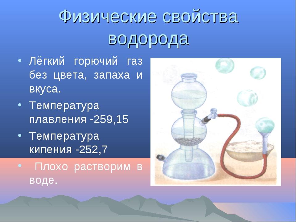 Физические свойства водорода Лёгкий горючий газ без цвета, запаха и вкуса. Те...