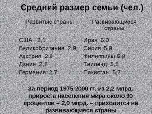 Средний размер семьи (чел.) За период 1975-2000 гг. из 2,2 млрд. прироста нас