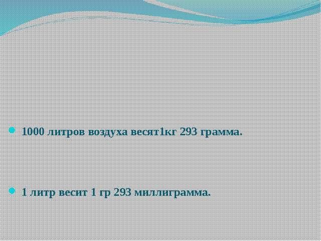 1000 литров воздуха весят1кг 293 грамма. 1 литр весит 1 гр 293 миллиграмма.