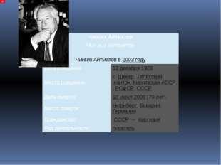 ЧингизАйтматов Чыңгыз Айтматов ЧингизАйтматов в2003году Дата рождения: 12де