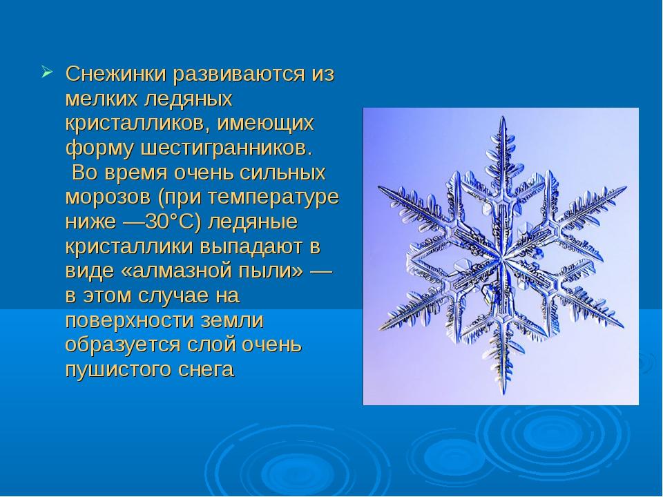 Снежинки развиваются из мелких ледяных кристалликов, имеющих форму шестигран...