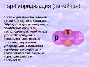 sp-Гибридизация (линейная) происходит при смешивании одной s- и одной p-орбит