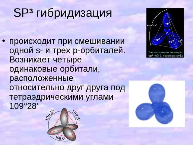 SP3 гибридизация происходит при смешивании одной s- и трех p-орбиталей. Возни...