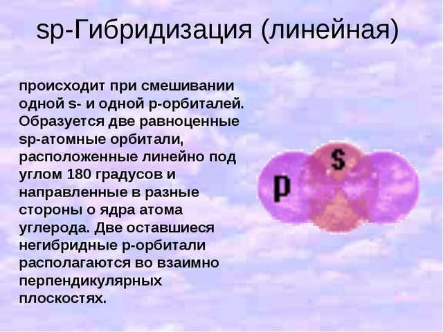 sp-Гибридизация (линейная) происходит при смешивании одной s- и одной p-орбит...