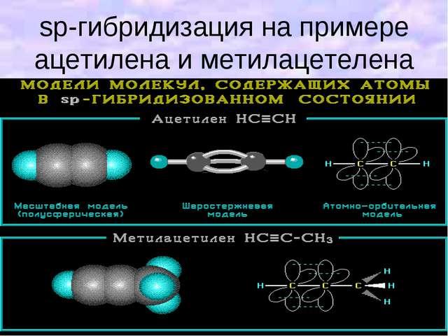 sp-гибридизация на примере ацетилена и метилацетелена
