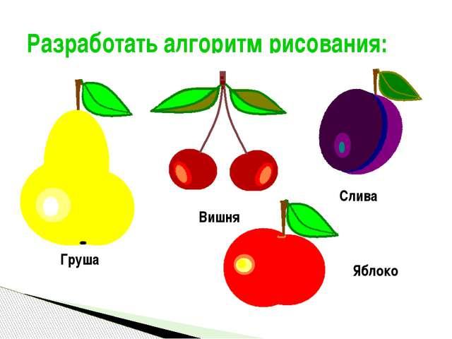 Разработать алгоритм рисования: Яблоко Груша Слива Вишня Полукарикова А.С., у...