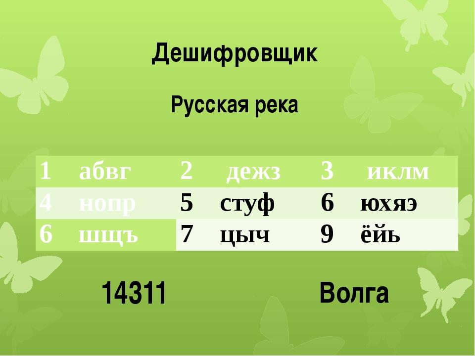 Дешифровщик Русская река 14311 Волга 1абвг 2 дежз 3 иклм 4нопр 5стуф 6 юхяэ 6...