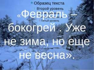 «Февраль – бокогрей . Уже не зима, но еще не весна».