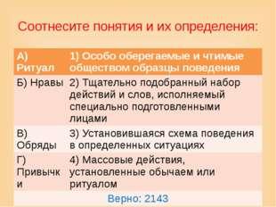 Соотнесите понятия и их определения: А) Ритуал 1) Особо оберегаемые и чтимые
