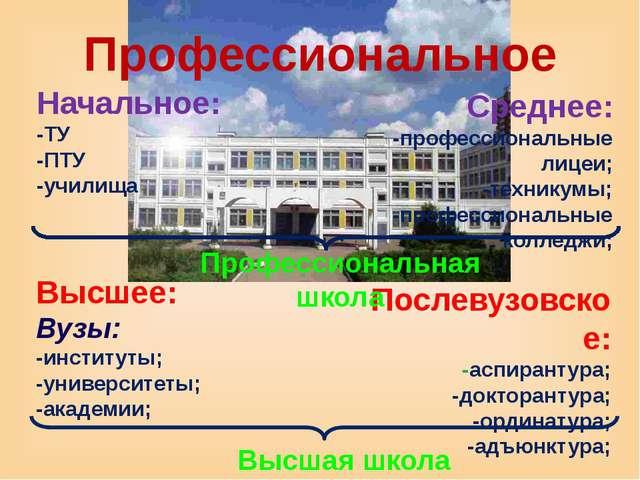 Профессиональное Начальное: -ТУ -ПТУ -училища Среднее: -профессиональные лице...