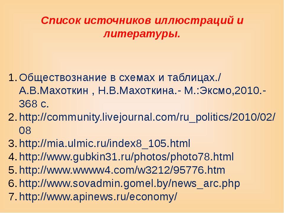 Список источников иллюстраций и литературы. Обществознание в схемах и таблица...
