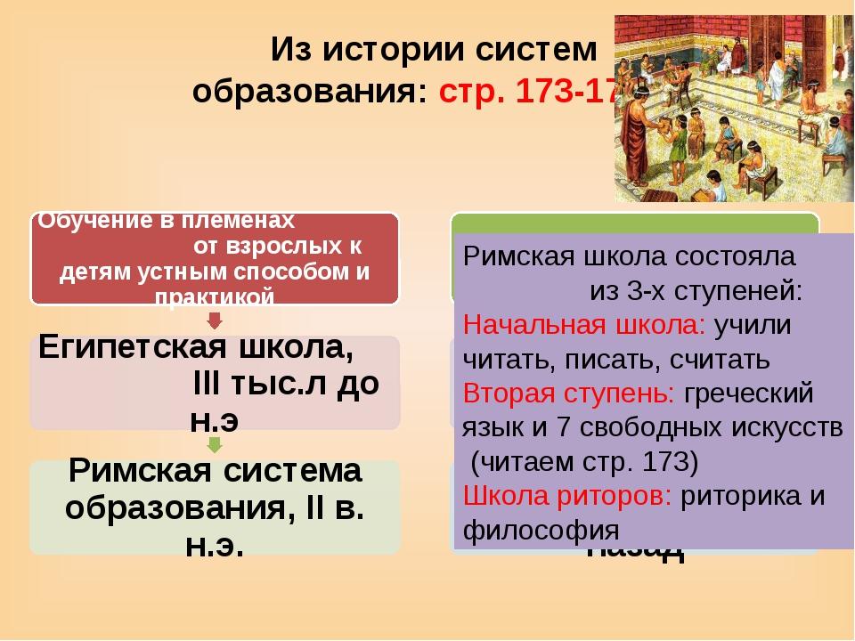 Из истории систем образования: стр. 173-175 Римская школа состояла из 3-х сту...