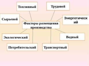 Факторы размещения производства Сырьевой Топливный Трудовой Энергетический Эк