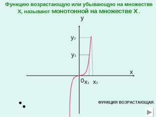 0 x x1 y x2 y1 y2 ФУНКЦИЯ ВОЗРАСТАЮЩАЯ. Функцию возрастающую или убывающую на
