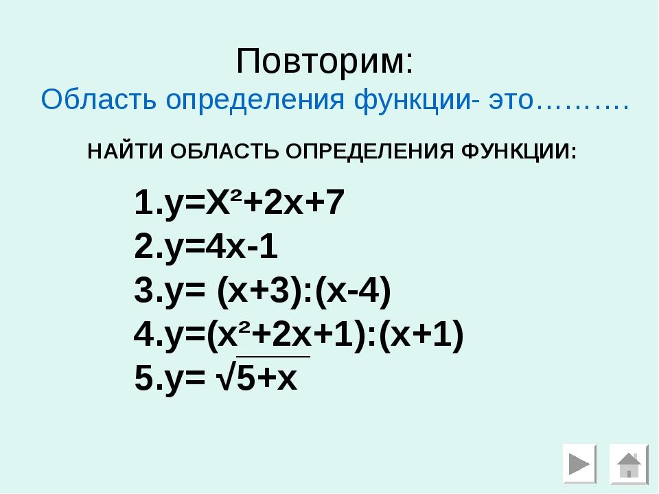 Повторим: Область определения функции- это………. y=X²+2x+7 y=4x-1 y= (x+3):(x-4...