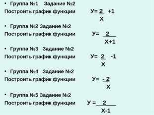 Группа №1 Задание №2 Построить график функции У= 2 +1 Х Группа №2 Задание №2