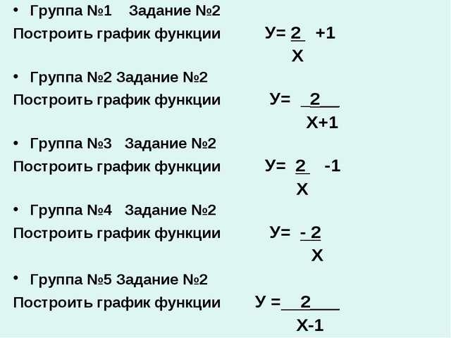 Группа №1 Задание №2 Построить график функции У= 2 +1 Х Группа №2 Задание №2...
