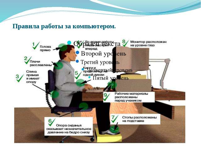 Правила работы за компьютером.