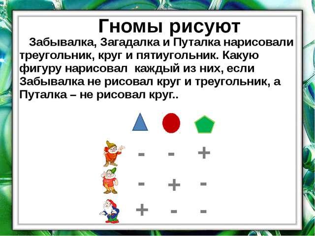 Гномы рисуют Забывалка, Загадалка и Путалка нарисовали треугольник, круг и пя...