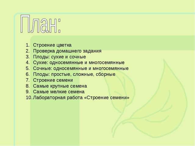 Строение цветка Проверка домашнего задания Плоды: сухие и сочные Сухие: однос...
