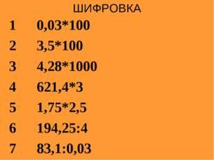 ШИФРОВКА 10,03*100 23,5*100 34,28*1000 4621,4*3 51,75*2,5 6194,25:4 78