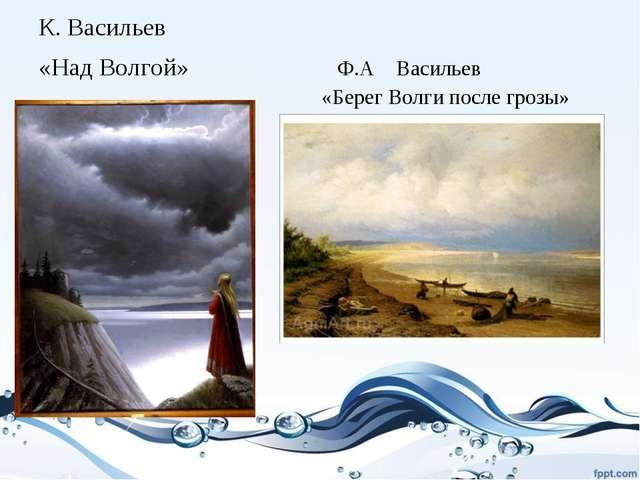 К. Васильев «Над Волгой» Ф.А Васильев «Берег Волги после грозы»