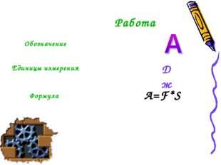 Дж A=F*S Работа Обозначение Единицы измерения Формула