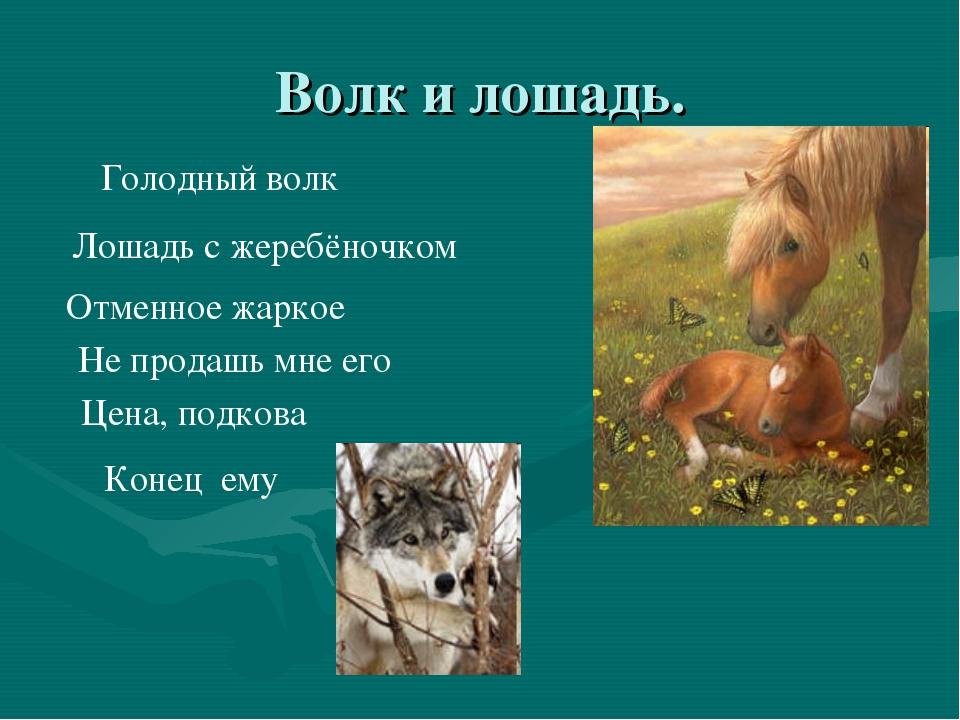 Волк и лошадь. Голодный волк Лошадь с жеребёночком Отменное жаркое Не продашь...