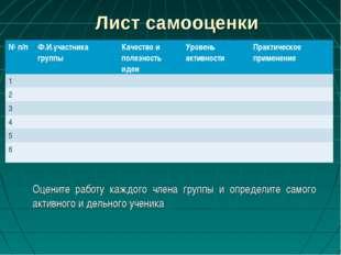 Лист самооценки Оцените работу каждого члена группы и определите самого актив
